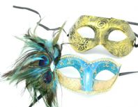 Turquoise and Gold Peacock Couple Masks